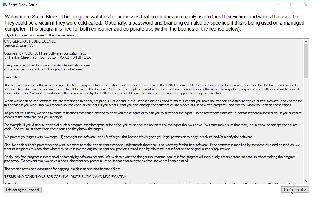 GNU GPLv2 License agreement