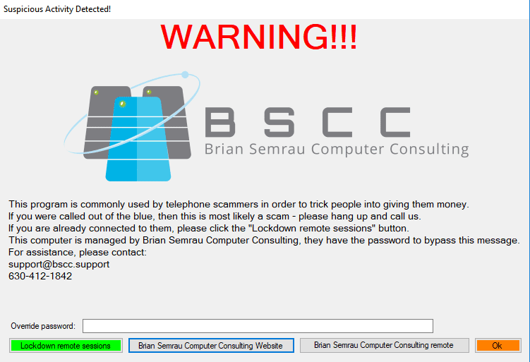 Sample ScamBlock notification window