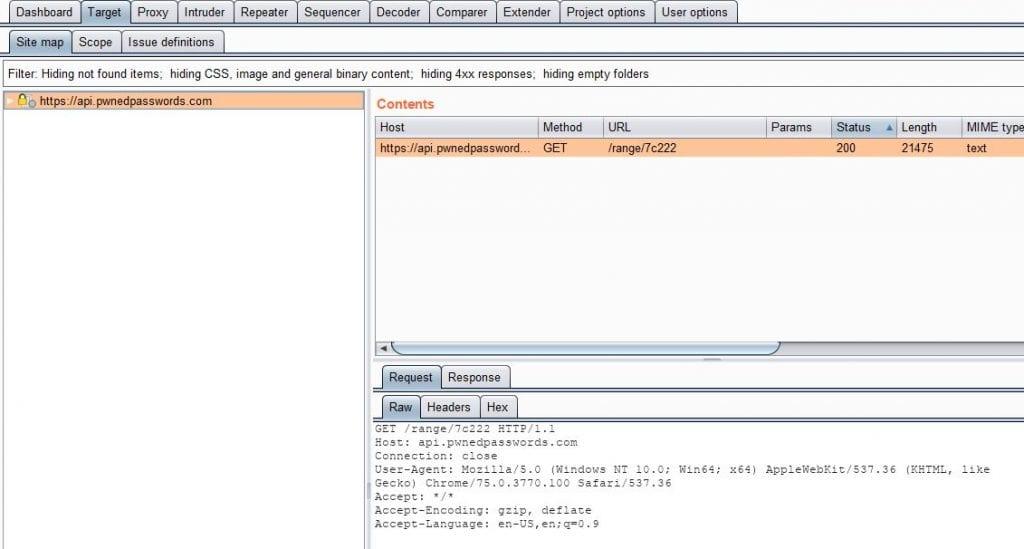 Screenshot of Burpsuite only having transmissions to https://api.pwnedpasswords.com.