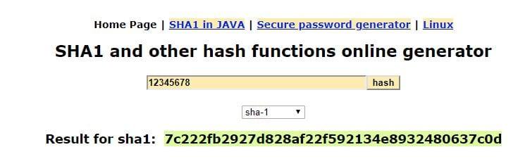 """Screenshot showing the SHA1 hash of """"12345678""""."""