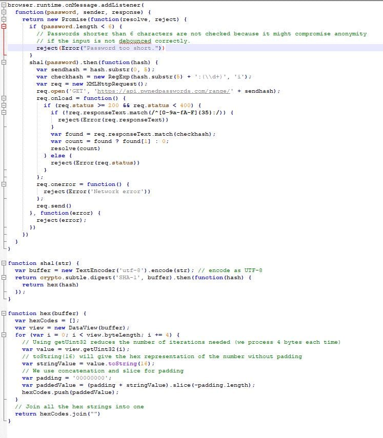Screenshot of the source of background.js