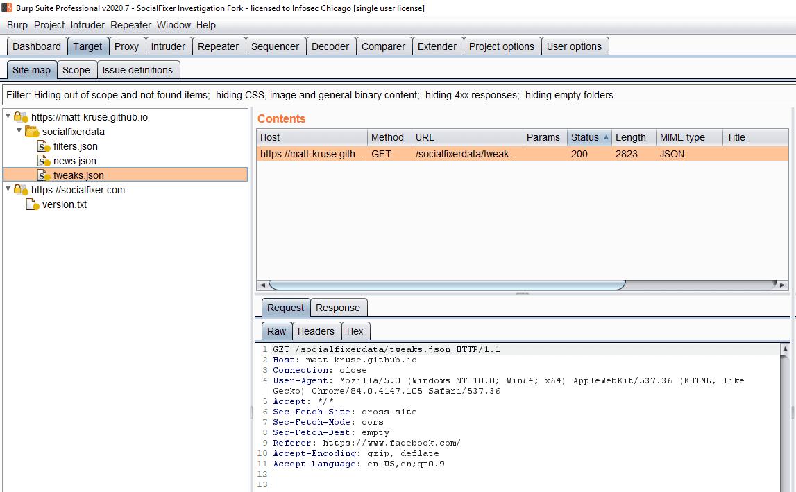 GET /socialfixerdata/tweaks.json HTTP/1.1 Host: matt-kruse.github.io Connection: close User-Agent: Mozilla/5.0 (Windows NT 10.0; Win64; x64) AppleWebKit/537.36 (KHTML, like Gecko) Chrome/84.0.4147.105 Safari/537.36 Accept: */* Sec-Fetch-Site: cross-site Sec-Fetch-Mode: cors Sec-Fetch-Dest: empty Referer: https://www.facebook.com/ Accept-Encoding: gzip, deflate Accept-Language: en-US,en;q=0.9