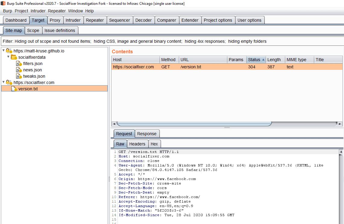 "GET /version.txt HTTP/1.1 Host: socialfixer.com Connection: close User-Agent: Mozilla/5.0 (Windows NT 10.0; Win64; x64) AppleWebKit/537.36 (KHTML, like Gecko) Chrome/84.0.4147.105 Safari/537.36 Accept: */* Origin: https://www.facebook.com Sec-Fetch-Site: cross-site Sec-Fetch-Mode: cors Sec-Fetch-Dest: empty Referer: https://www.facebook.com/ Accept-Encoding: gzip, deflate Accept-Language: en-US,en;q=0.9 If-None-Match: ""5f203fc3-6"" If-Modified-Since: Tue, 28 Jul 2020 15:09:55 GMT"